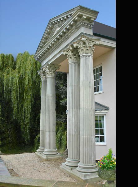 Corinthian Large Four column Pedimented Portico
