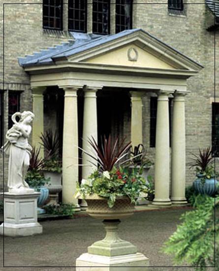 Tuscan Pedimented Stone Portico F