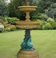 Medium 2 Tier Bronze Triple Dolphin Garden Fountain Centrepiece