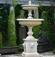 Medium Two Tiered Lion Mask Garden Fountain Centrepiece