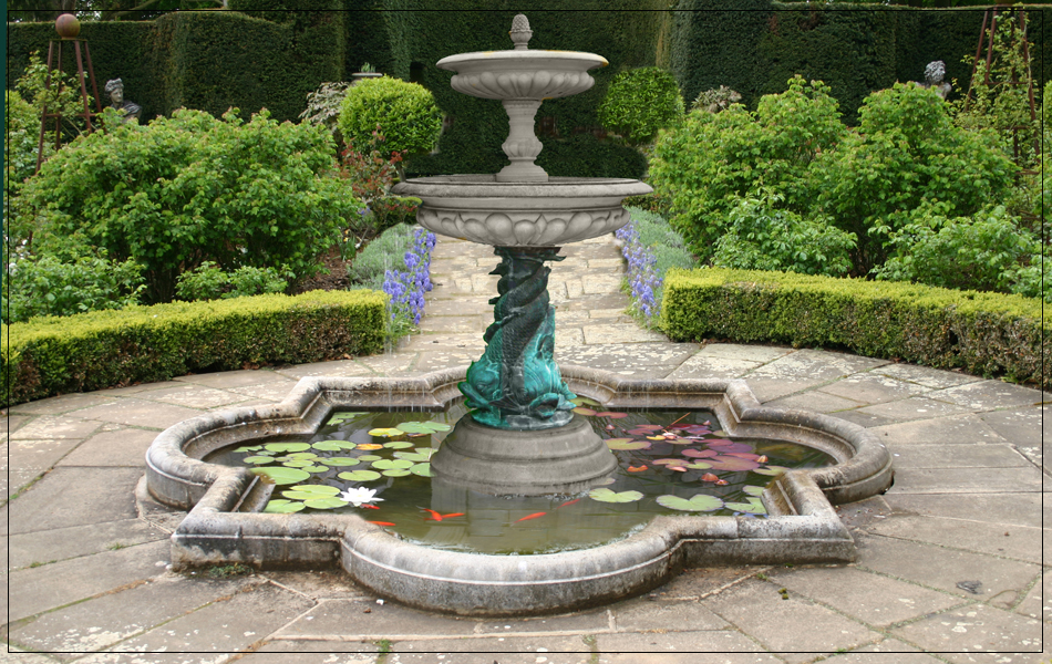 Medium 2 tier bronze triple dolphin garden fountain for Garden fountains and water features