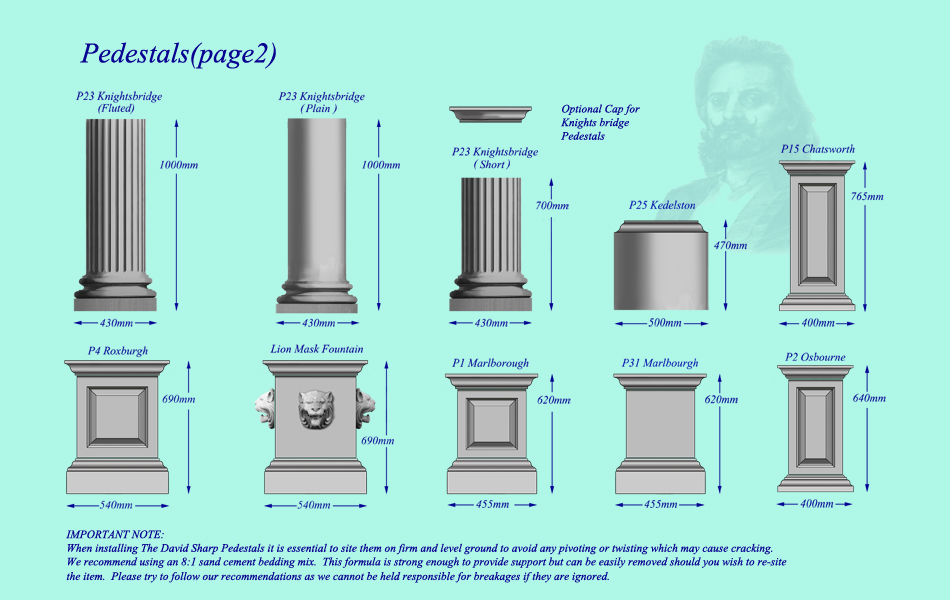 Belgrave Pedestal Plinths StatuesGarden ornaments