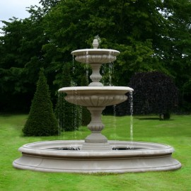 Medium Two Tier Vermeer Garden Fountain by the David Sharp Studio