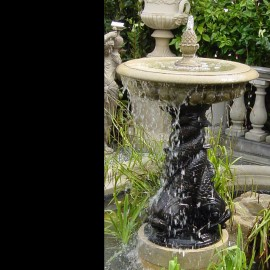 Small One Tiered Bronze Triple Dolphin Garden Fountain