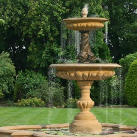 Large Two Tier Bronze Triple Dolphin Garden Fountain