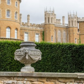 Stone Salucard Swagged Urn by the David Sharp Studio shown at Belvoir Castle