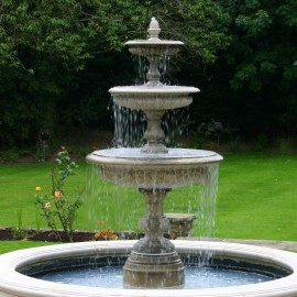 Medium Three Tier Vermeer Garden Fountain by the David Sharp Studio