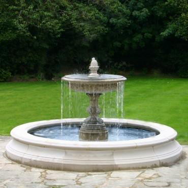 Medium One Tier Vermeer Garden Fountain by the David Sharp Studio