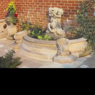 Caravaggio Three Putti Garden Fountain by the David Sharp Studio