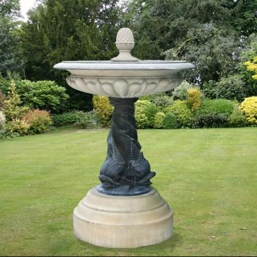 Medium One Tier Triple Dolphin Garden Fountain