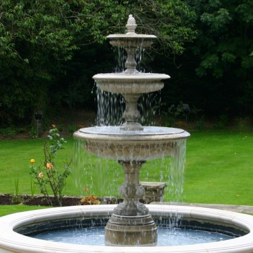 Medium Three Tier Vermeer Garden Fountain by the David Sharp Studio