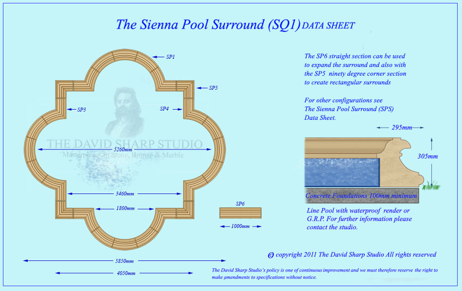 David Sharp Studio garden fountain sienna pool surround