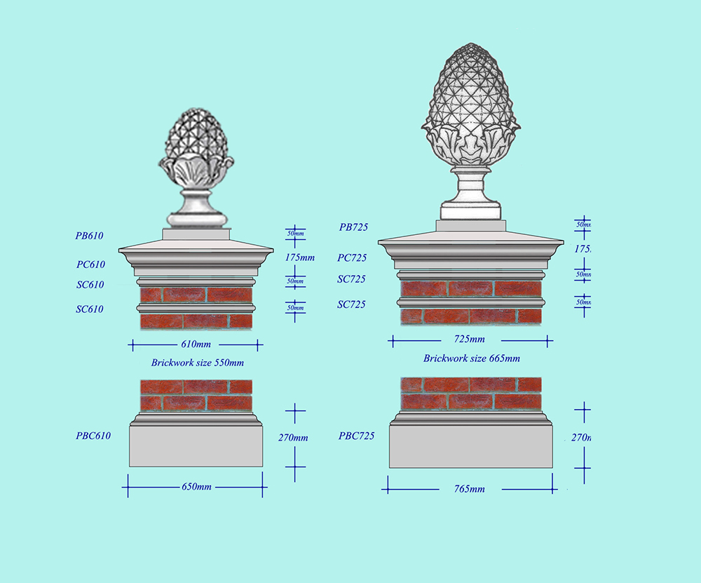 david sharp studio stone pier caps and pinapple finials architectural stone