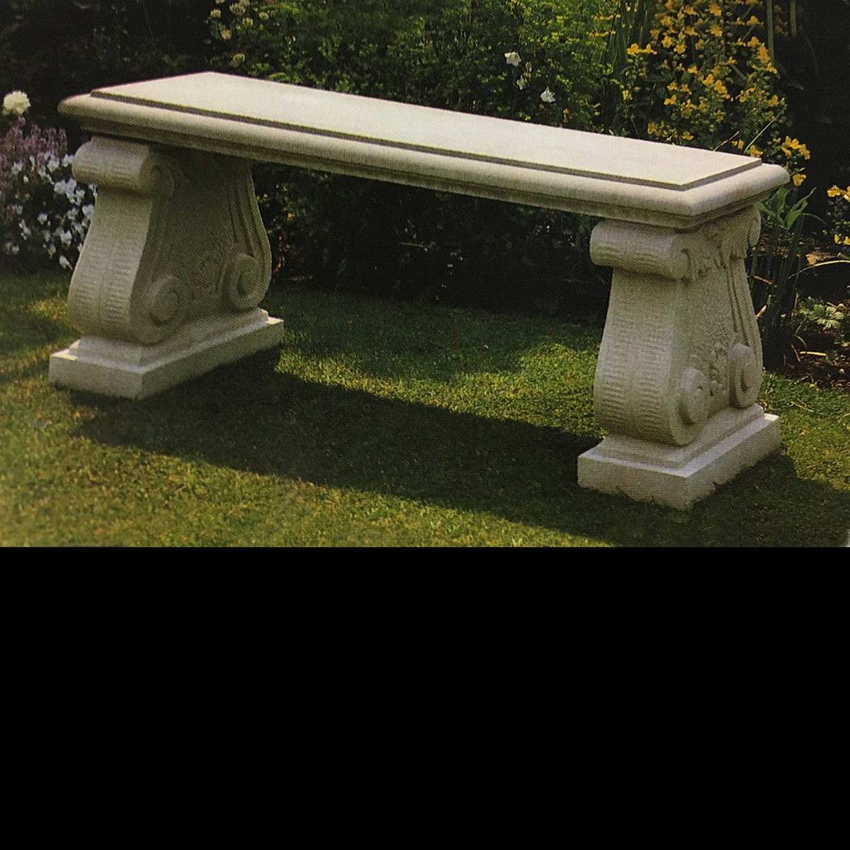 Picture of: Straight Scrolled Stone Garden Bench