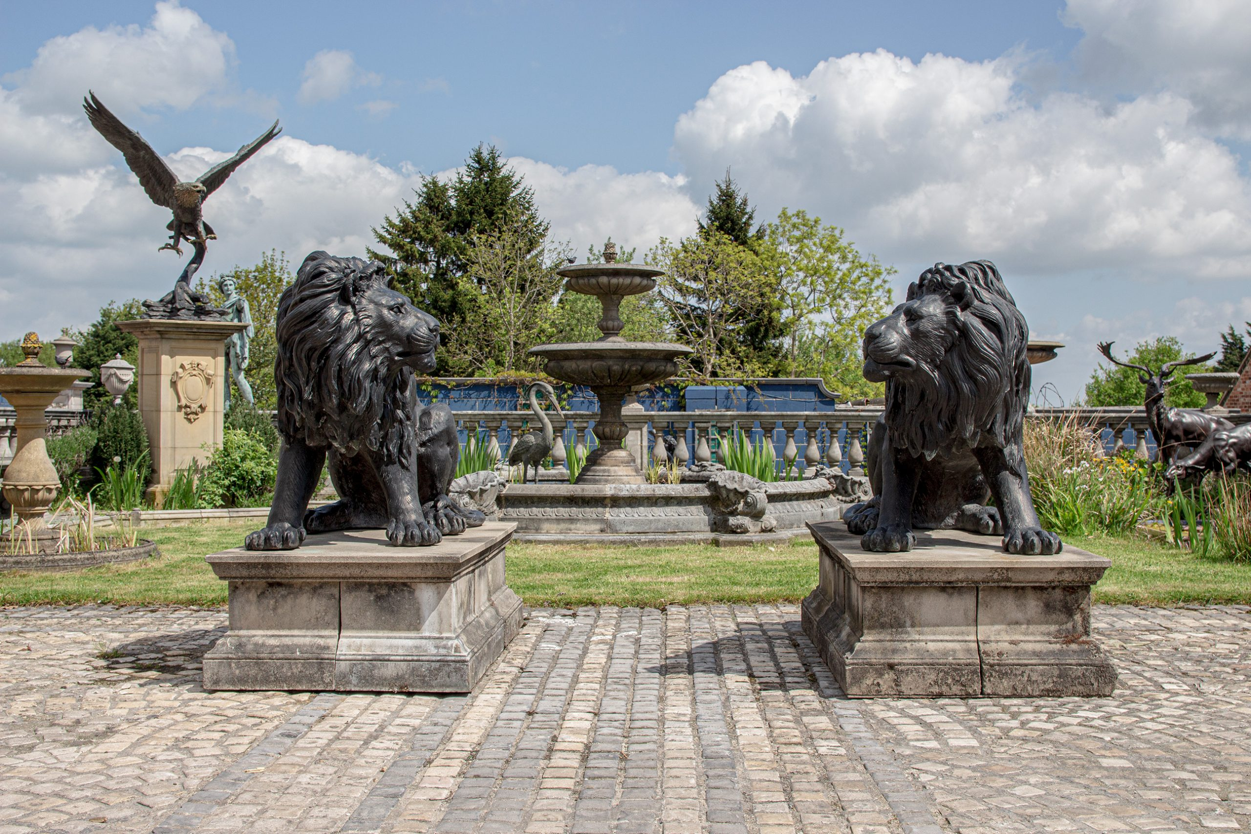 The David Sharp Studio Bronze Lions & Vermeer Fountain
